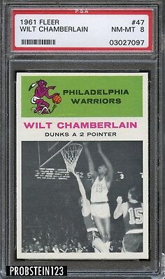 1961 Fleer Basketball #47 Wilt Chamberlain HOF RC Rookie In Action PSA 8 NM-MT