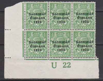 Ireland 1922 MNH & Mint Mounted ½d Green Corner Control Block of 6