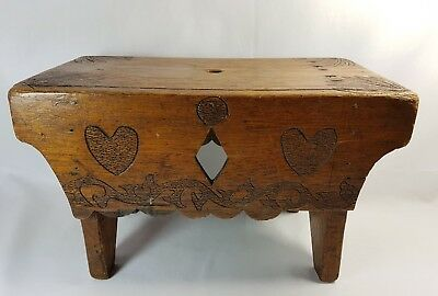 Antique Folk Art Carved Wooden Northumberland Cracket Colliery Stool Vintage