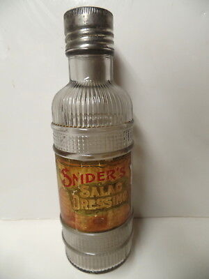 Early Snider's Salad Dressing Labeled Bottle With Lid Cincinnati Ohio Oh