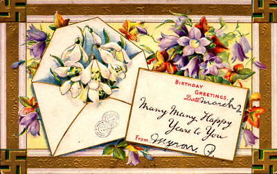 Postcard Birthday Greetings Embossed 1910 Postmark