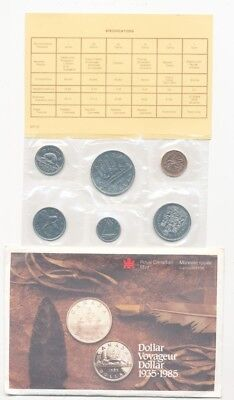1985 Uncirculated Canadian Mint Set RCM Dollar Voyageur - Free Shipping