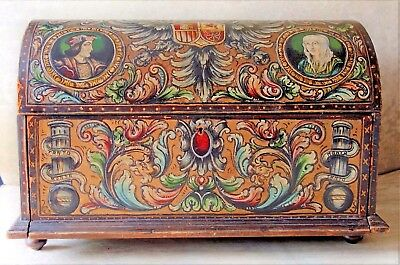 """Antique Dome Top Hand Painted Tooled Leather Covered Dowry Chest """"Tanto Monta"""""""
