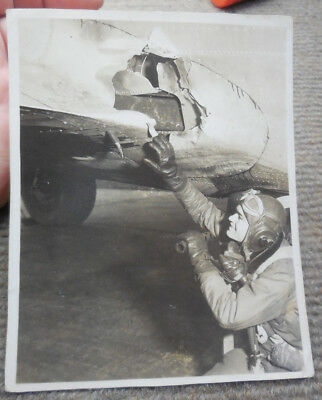 Vintage WW II B-17 Officer Checking Flak Damage B/W Photograph Named