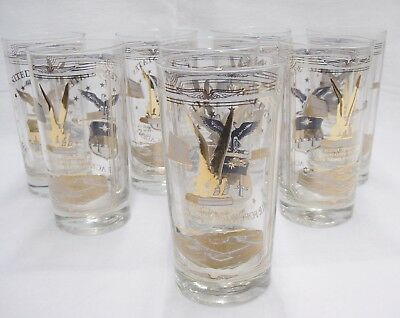 United States Air Force Academy Drinking Glasses Set of 8 Gold Black Eagle Logo
