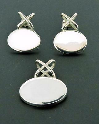 Mexico ATI 925-Sterling Silver Oval & X Pendant & Earrings Matching Set