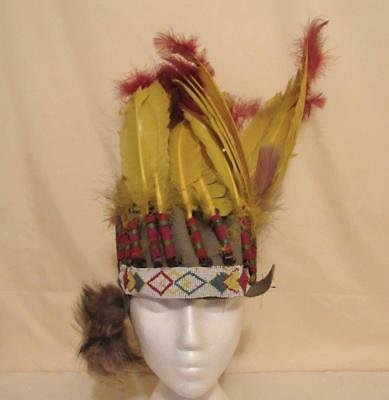 vintage war bonnet indian headdress feathers leather beadwork southwestern as-is