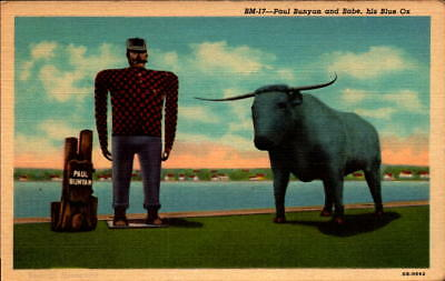 Postcard Paul Bunyan and Babe His Blue Ox Linen Unused