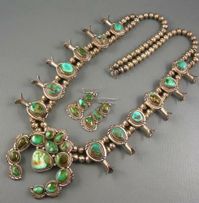 Navajo Guild Sterling Royston Turquoise Squash Blossom Necklace Signed 192 Grams