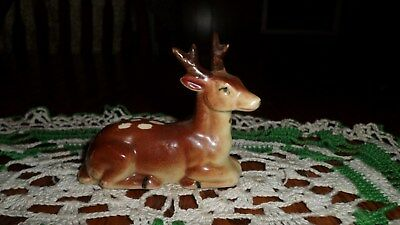 Vintage Japan Laying Down Spotted Deer Fawn Porcelain  Figurine