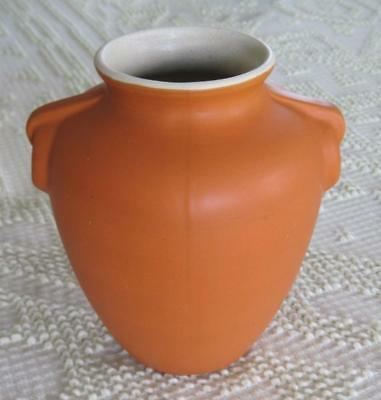 "Coors Pottery Pumpkin Orange White Interior 6.25"" Vase Made in Colorado"