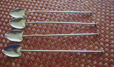 Lot of 4 Webster & Co. Sterling Silver Ice Tea Mixers Straws Heart Shape Bowls