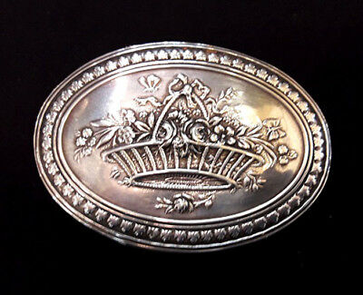 Antique French Sterling Silver  Oval Pill Box
