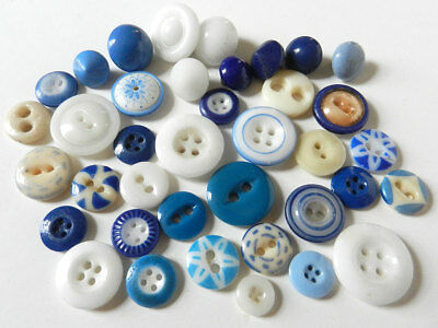 Lot Antique Ceramic China Buttons Blue & White Variety of Types & Patterns