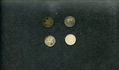 (4) 3 Cent Silver US Coin Lot-1852(2),1861,1853,-g-vg, 100% original, scarce