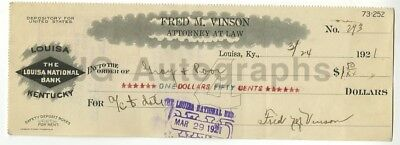 Fred Vinson - Chief Justice of the Supreme - Autographed 1921 Canceled Check