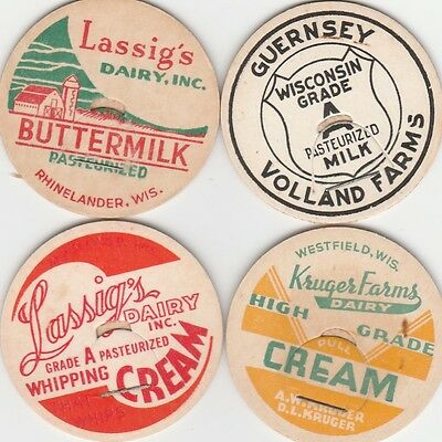 Lot Of 4 Wisconsin Milk Bottle Caps.
