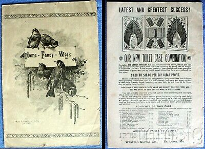 1893 Booklet Home Fancy Work, Patterns,Chas. Haanel Pub. Co. Ads