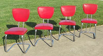 Retro Dining Kitchen Chairs Set Of 4 Red Chrome Vintage Chair
