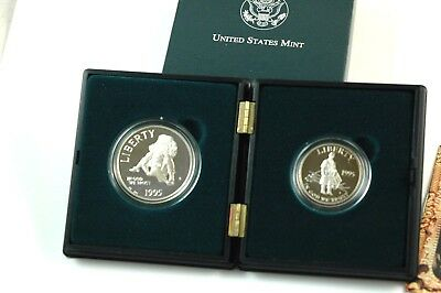 1995 Civil War Battlefield PROOF Silver 2 Coin Set W/  Box & COA