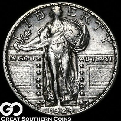 1924-S Standing Liberty Quarter, Very Choice AU++/Unc Tougher Date!