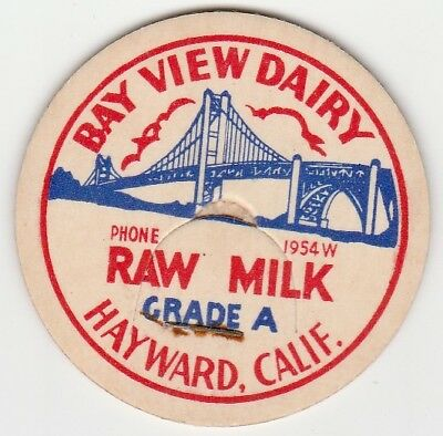 Lot Of 12 Milk Bottle Caps. Bay View Dairy. Hayward, Ca.