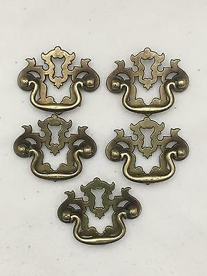 Lot of 5 Vintage Ornate Brass Drawer Pulls w Screws Chippendale Style