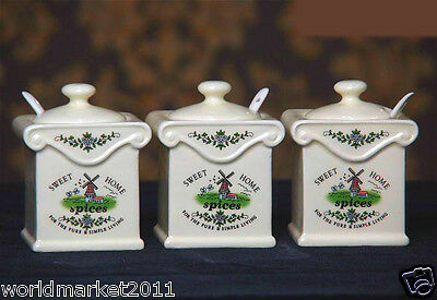 European Rural Ceramic White+Green Spices Condiment Seasoning Box+Spoon 3 Pcs
