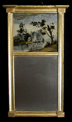 1820s Antique Federal TABERNACLE MIRROR Gilt Reverse Painted FISHING SCENE N/R!