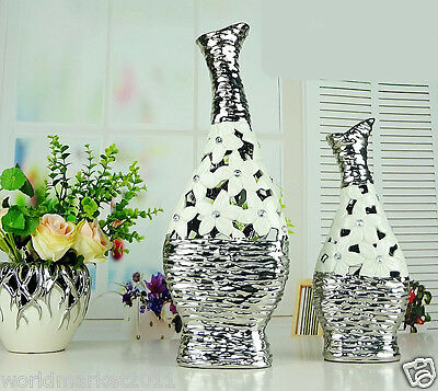 Modern White+Silver Abstract Ceramic Home Accessories Decoration Vases 2 Pcs