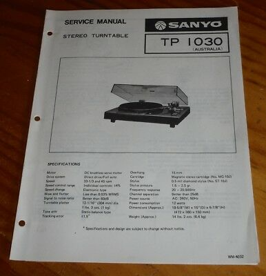 Sanyo Stereo Turntable Model TP  1030 Service Manual ( record player )