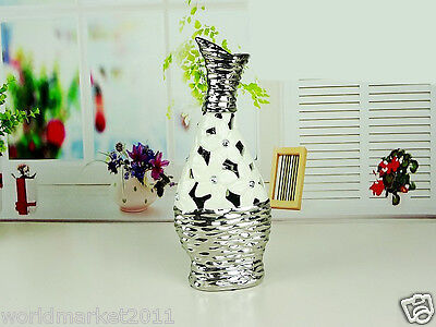 Modern White+Silver Abstract Ceramic H-31.5cm Home Accessories Decoration Vase B