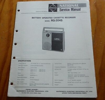 National Battery Cassette Tape Recorder model RQ-204S Service Manual player