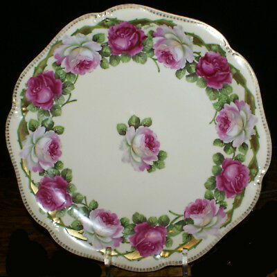 Beautiful Erdmann Schlegelmilch RS Prussia Rose Gilded Signed Cabinet Plate