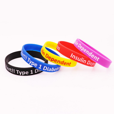 Type 1 Diabetes Insulin Dependent Medical Alert Silicone Rubber Wristband bracel