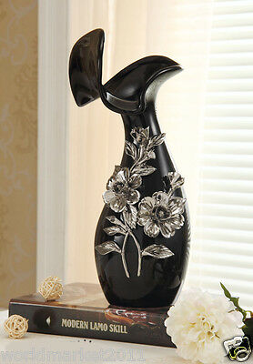 Modern Black+Silver Ceramic H-32cm Home Accessories Decoration Abstract Vase