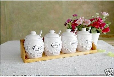 European Rural Style Ceramic White Tea/Sugar/Coffee Seasoning Box+Spoon 4 Pcs