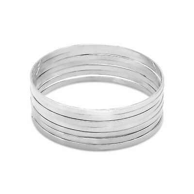 "Flat Bangle Bracelets 925 Sterling Silver Set of Seven 8""  around"