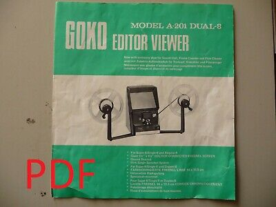 Instructions cine movie editor GOKO A-201 DUAL-8 8mm & super 8 CD/Email