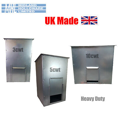 Galvanized Steel COAL BUNKER 3cwt, 5cwt, 10cwt, storage,grain/corn/feed Uk Made