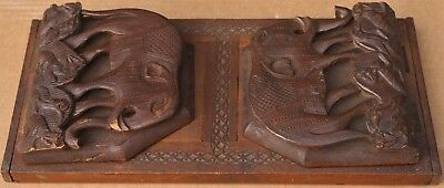 Lovely Old Black Forest Type Wooden Sliding Book Shelf With Carved Elephants