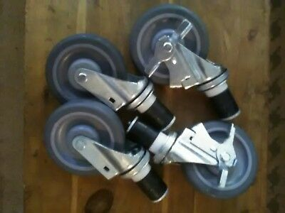 """5"""" Caster Wheel Set Stainless Steel Commercial Restaurant Kitchen Food Tables"""