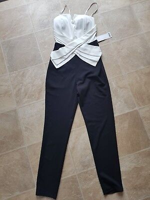 boohoo black and white jumpsuit size s