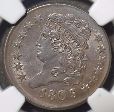 1809/6 NGC MS63 Half Cent 1/2C Classic Head Rare <50 MS Est. Choice Uncirculated
