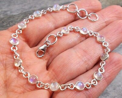 925 Silver RAINBOW MOONSTONE Bracelet B637~Silverwave*uk Jewellery