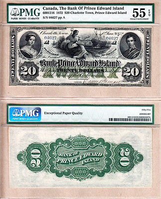 1872 $20 The Bank of PEI, 600-12-16R. Exceptional PMG Certified AU55 EPQ