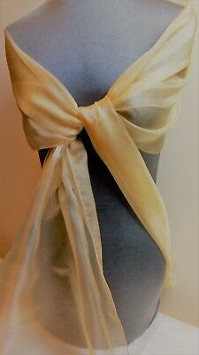 New Gold Organza Wrap / Stole / Scarf.  Bride Bridesmaid Wedding