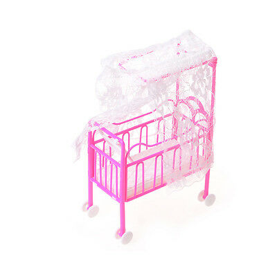 Baby Bed With Nets Miniature Dollhouse Toy Bedroom Furniture For Barbie Dolls WF