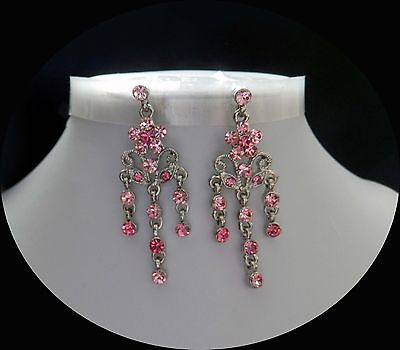 Vintage Flower Chandelier Earrings with Rose Australia Crystals E2291