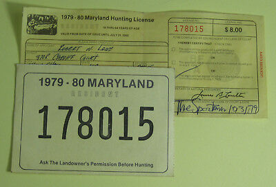 Vintage maryland hunting licenses 2 1968 1969 cad for Md fishing license